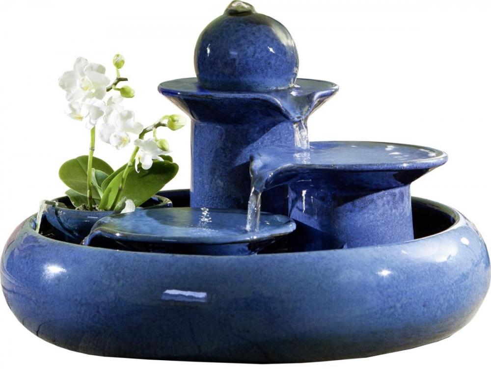 Keramikbrunnen Locarno blau