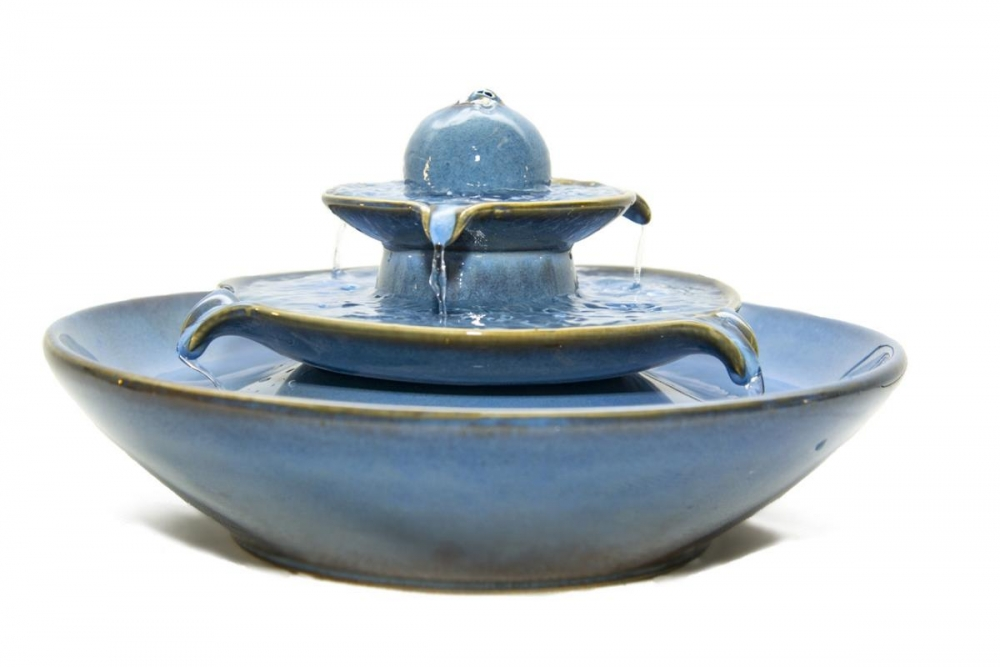 Keramikbrunnen Pisa blau